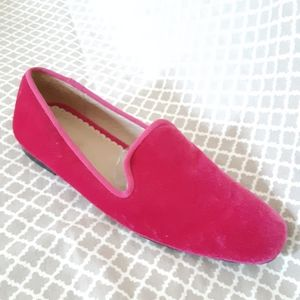 Lands' End Bright Pink Velvet Slip on Loafer Sz 6